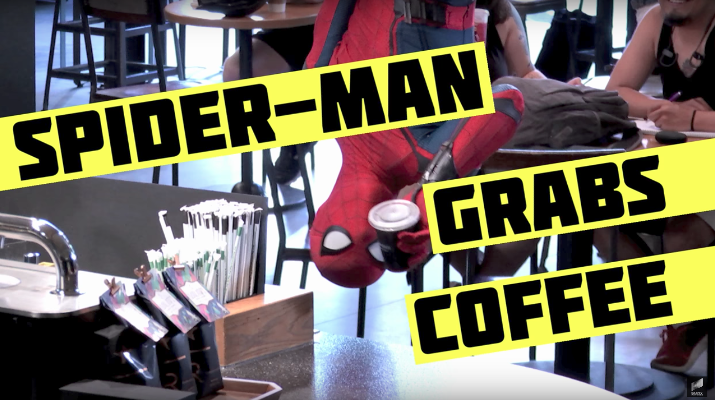 Epic Spider Man Prank at Starbucks