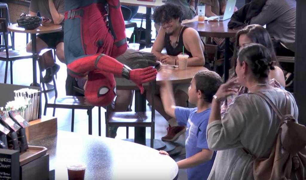 Spider Man Shaking Hands with boy at Starbucks