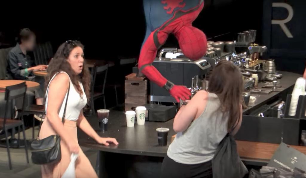Spider man surprises customers at StarBucks