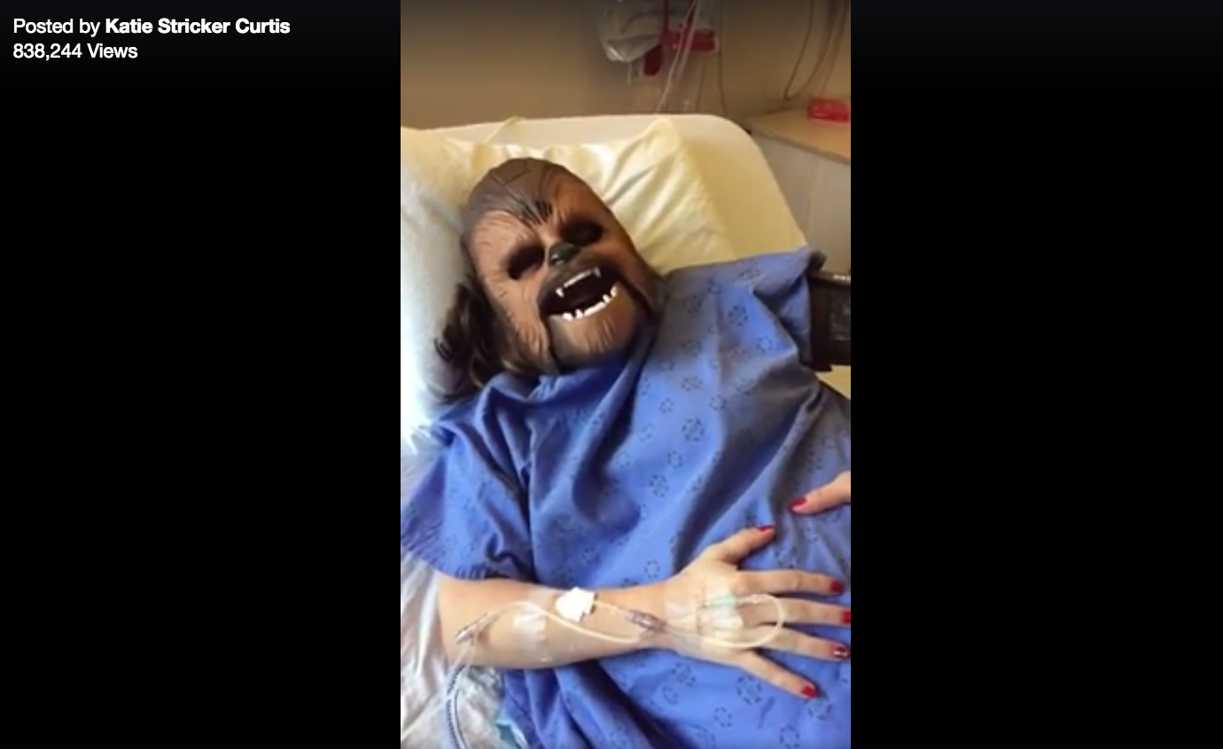 Woman Labors Through Contractions Wearing Chewbacca Mask