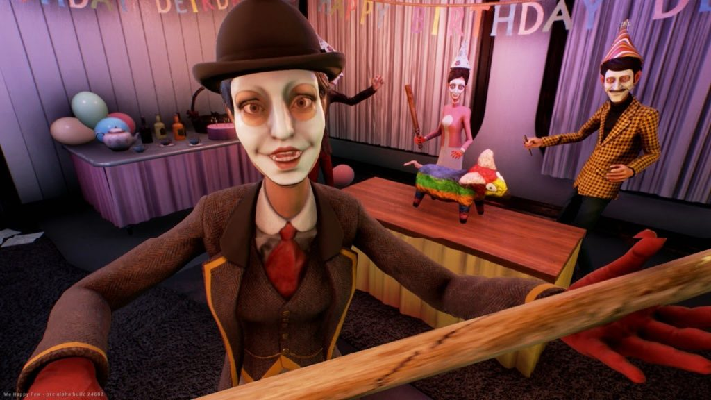 Wellington Wellies engaging with player of We Happy Few
