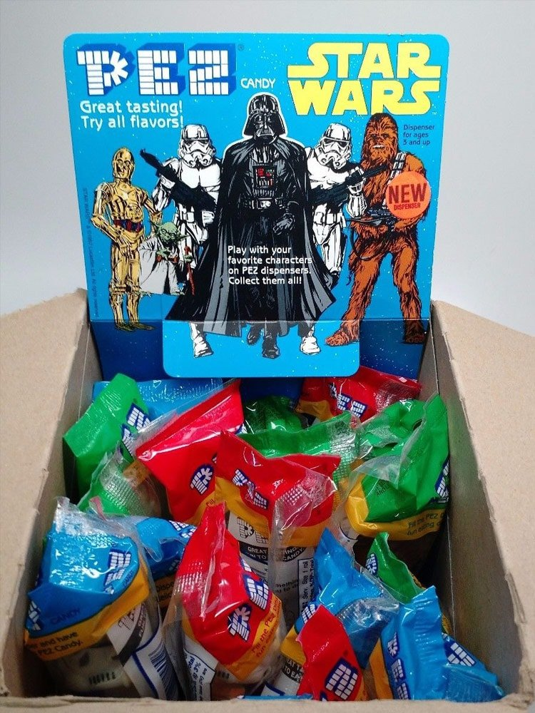 Box of Star Wars Pez Dispensers