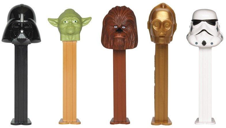 Darth Vader, Yoda, Chewbacca, C-3PO, and Stormtrooper PEZ