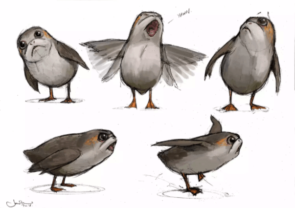 drawing of porgs from star wars the last jedi