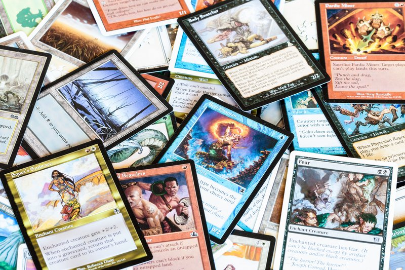 various cards of Magic The Gathering board game